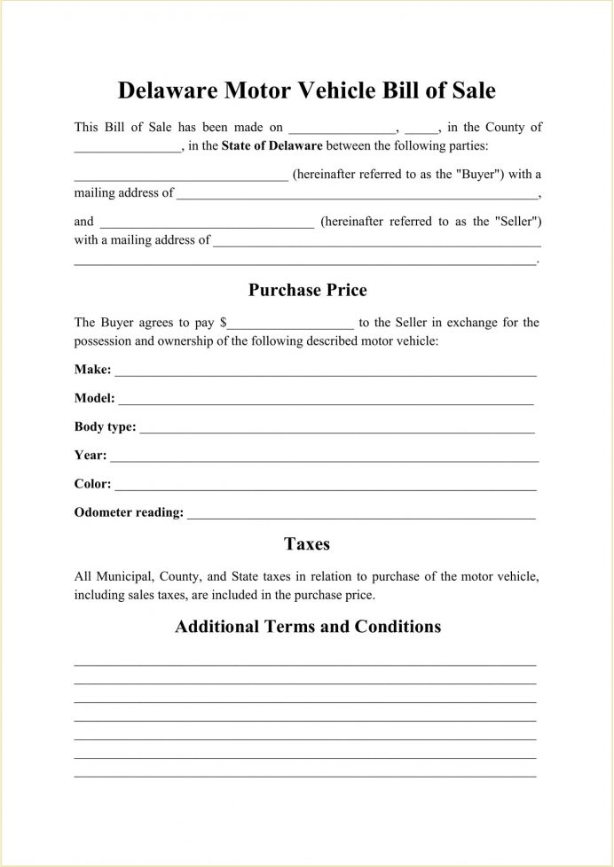 Delaware DMV Motor Vehicle Bill Of Sale Form Template PDF Free For Car, Boat, Pdf, Selling A Car Privately In Delaware, Template,