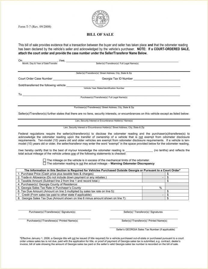 Form T-7 Georgia Motor Vehicle Bill Of Sale Template PDF General Pdf, Is A Required In Georgia, Boat, Selling Car