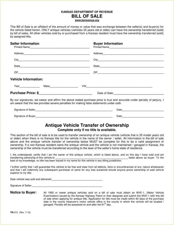 Form TR 312 Kansas Motor Vehicle Bill Of Sale Template PDF TR-312 Selling A Car In Kansas, Boat, Is Required Create For Vehicle, Dmv Forms,
