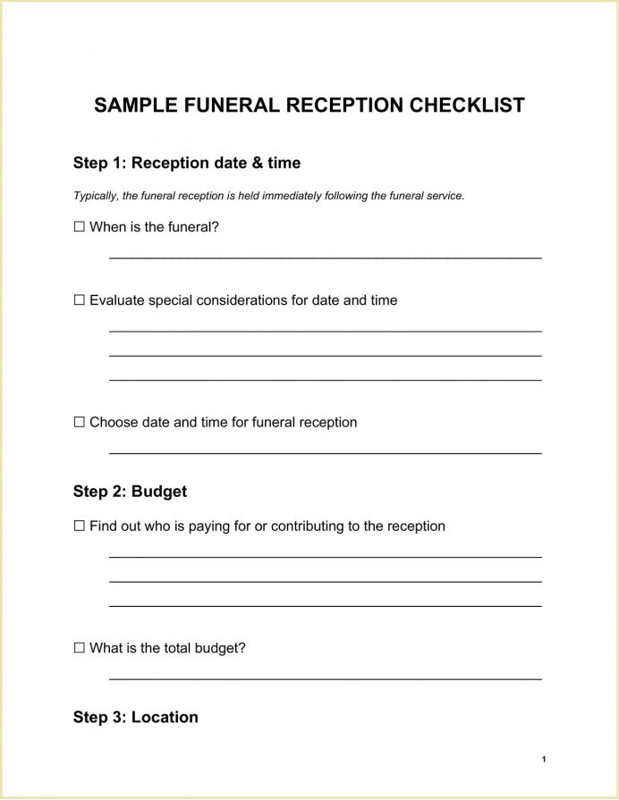 Sample Funeral Reception Planning Checklist Template Word Etiquette, Decoration Ideas, Places, During Covid,