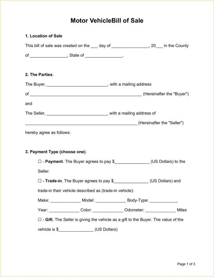 Sample Motor Vehicle Bill Of Sale Form Template Word Doc General Word, Simple Sale, Google Docs Texas,