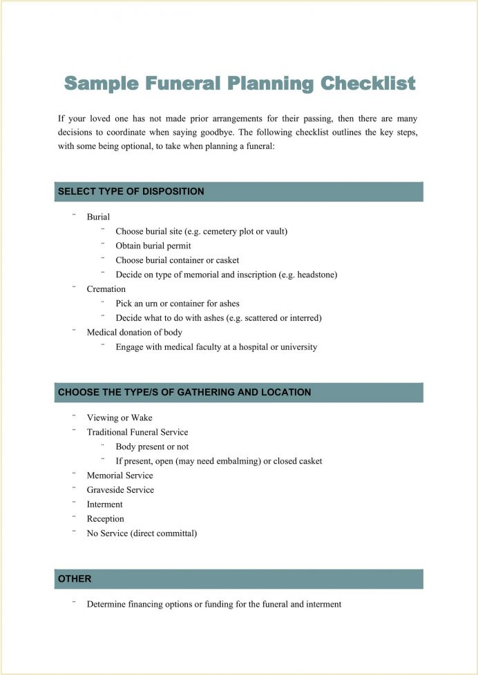 Sample Funeral Planning Checklist Template Word Example Australia, Guide Pdf, Form, How To Plan A Step By Step,