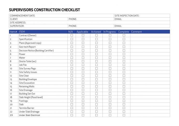 Sample Supervisors Building Sonstruction Checklist Template PDF Construction Supervision Inspection Checklist, For Activities, Activities Pdf, Excel,