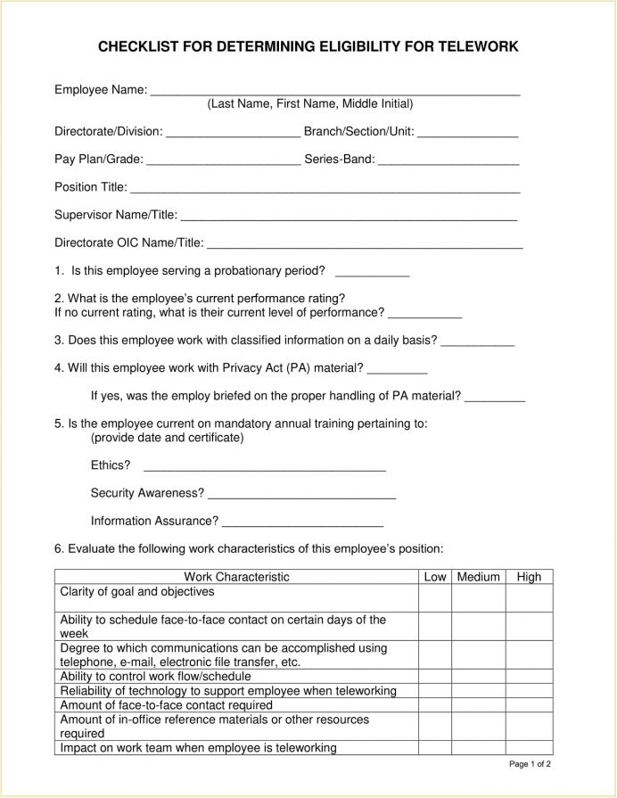 Sample Telework Eligibility Checklist Template PDF Example Request, Irs Requirements, Enhancement Act, Expectations,