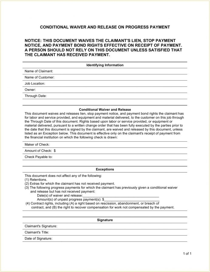 Conditional Mechanic Lien Release Template PDF Contractor's (Mechanic's) Form Waiver Word, Pdf, And On Final Payment, Contractor Form, Unconditional