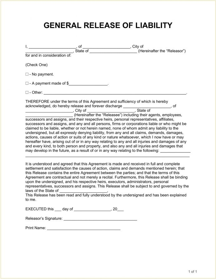 General Hold Harmless Agreement Form Template Word Agreement Hold Harmless Agreement Template