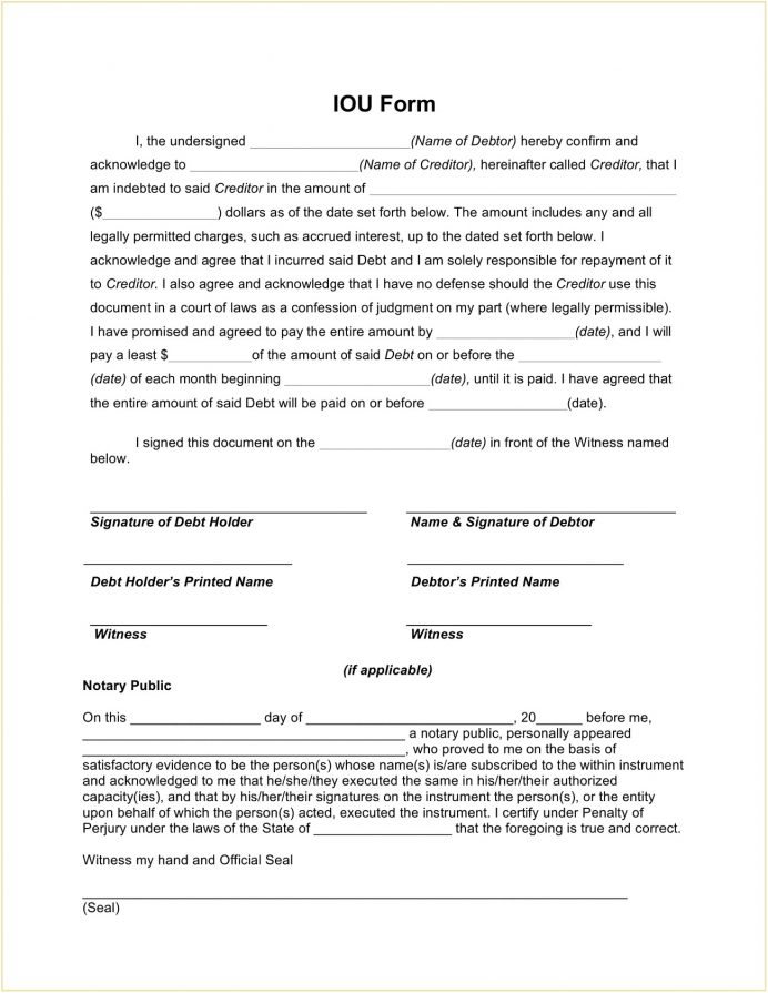 IOU Form Template PDF Agreement I Owe You (IOU) Sample Simple Iou Note, South Africa, Free Printable Template, Promissory Funny