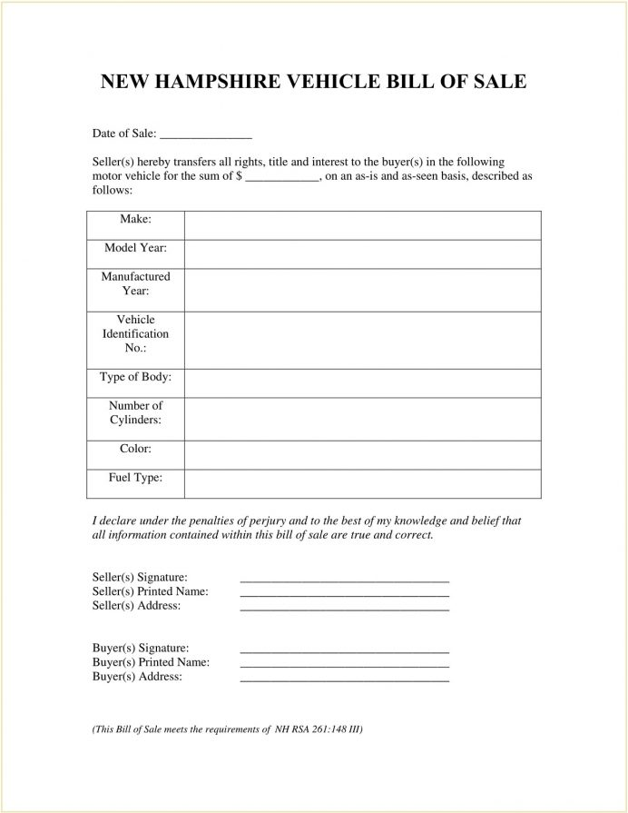 New Hampshire Vehicle Bill Of Sale Form Template PDF Motor Template, Nh Trailer Sale, Selling A Car In Nh, Boat Motorcycle