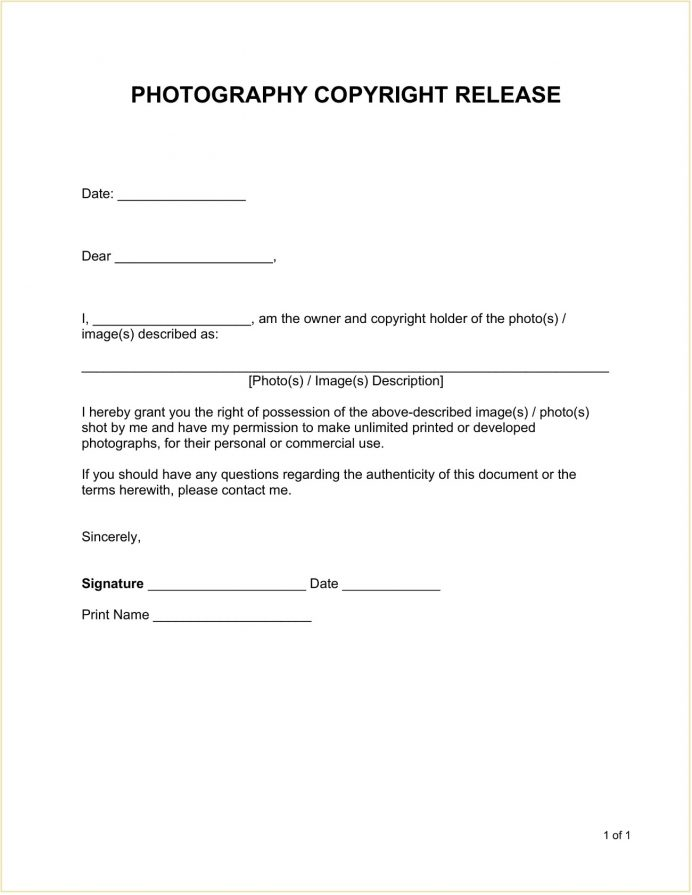 Photography Copyright Release Form Template Word Doc Photo For Social Media, Artwork, Photographer Form, Print To Client, Free Printable