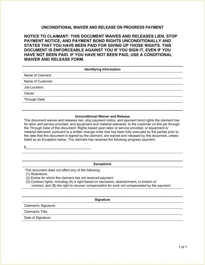 Unconditional Contractor Mechanic Lien Release Form Template PDF Contractor's (Mechanic's) Subcontractor Waiver Pdf, Form, Conditional And Upon Final Payment, Of