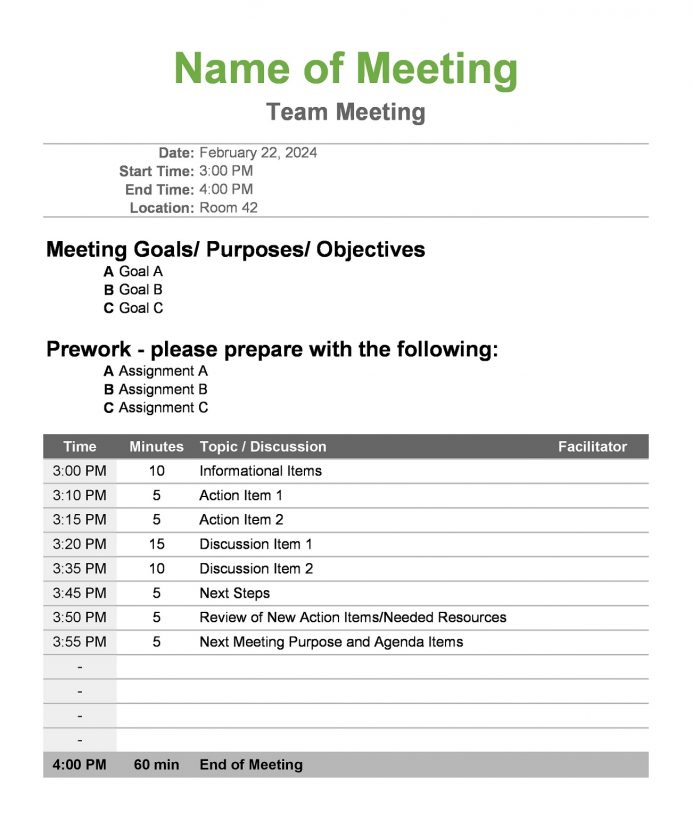 Meeting Agenda Calculated Time Excel Template Agenda Sample Meeting Agenda Template