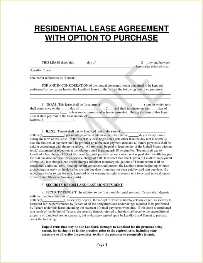 Residential Lease With Option To Purchase Agreement Form Template PDF An Oregon Purchase, How Structure A Buy, California Agreement, South Africa, Letter Of Intent