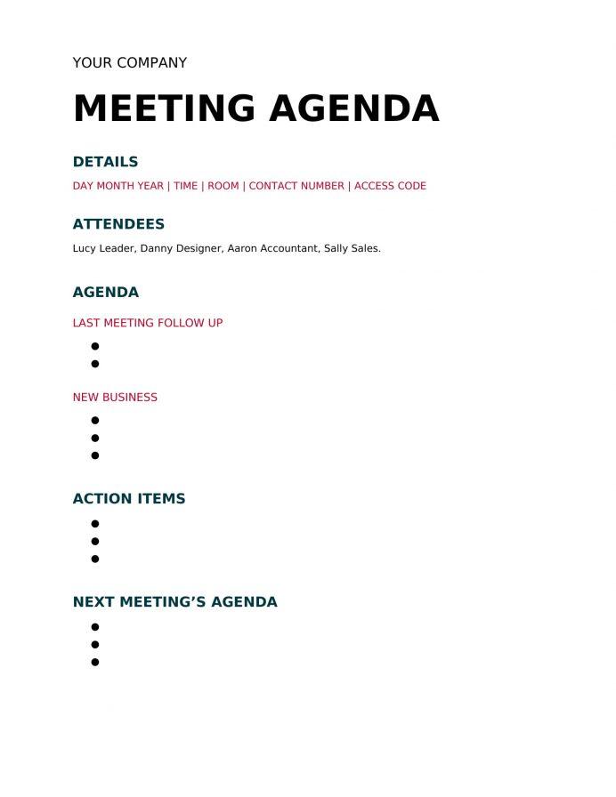Simple Meeting Agenda Word Template Agenda Sample Meeting Agenda Template