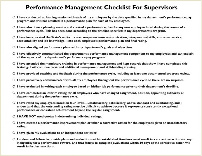 Supervisor Performance Management Checklist Template PDF Sample In The Workplace, Checklist, Process Template, Review Audit