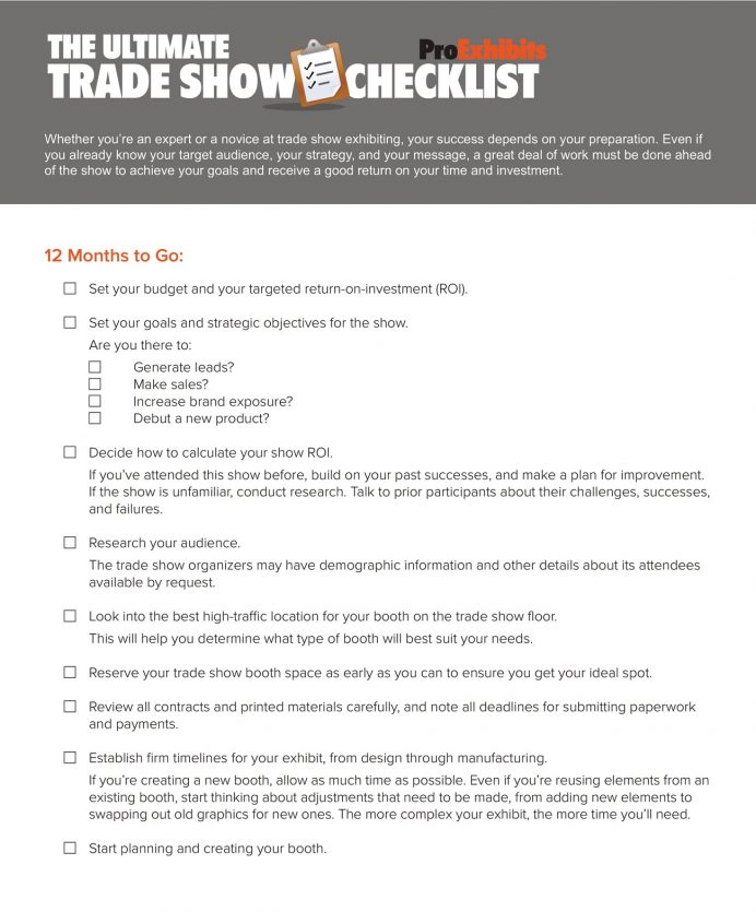Ultimate Trade Show Checklist Template PDF Sample Project Plan, Planning For Fairs And Exhibitions, Business Expo Checklist, Timeline, Template,