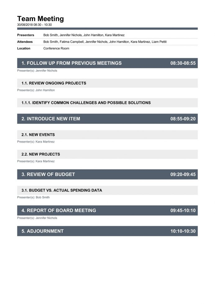 Weekly Team Meeting Agenda Template Example Google Doc, Formal Template, Monthly Word,